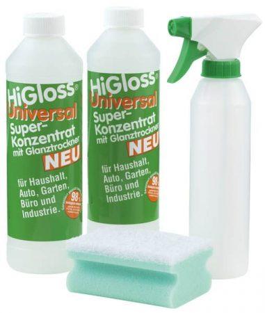 HiGloss szuper koncentrátum, 4 részes szett: szivacs, szórófejes üveg + 2 x koncentrátum