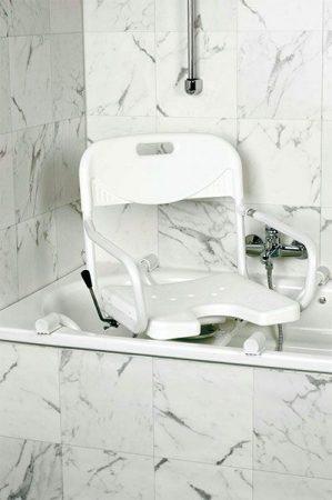 Forgószék fürdőkádhoz, alumínium, fehér