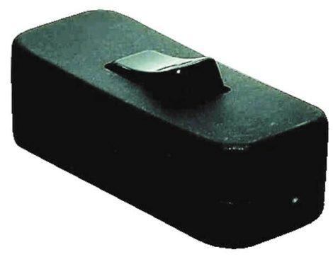 ERV zsinórkapcsoló, fekete, lapos kábelvezetékhez 230 V / AA: egypólusú kapcsoló.