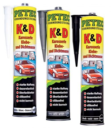 PETEC karosszéria ragasztó – és szigetelő massza, 310 ml, fekete színben.