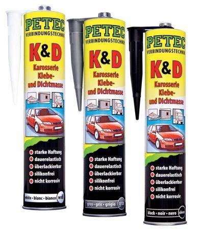 PETEC karosszéria ragasztó – és szigetelő massza, 310 ml, szürke színben.