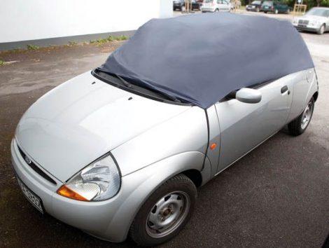 Személygépkocsi fél ponyvagarázs, mérete M/ 259 x 122 x 61 cm, poliészter táskával.