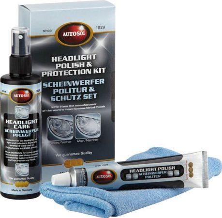 Autosol fényszóró polírozó és védő szettben.