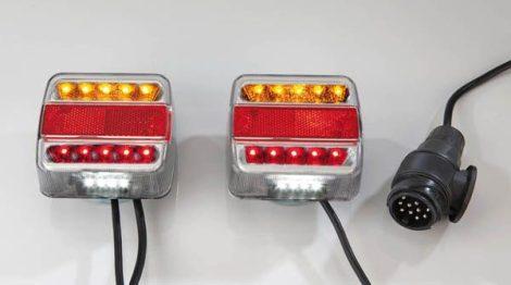 LED utánfutó-világítás – 7,5 m kábel – különböző kiosztás.