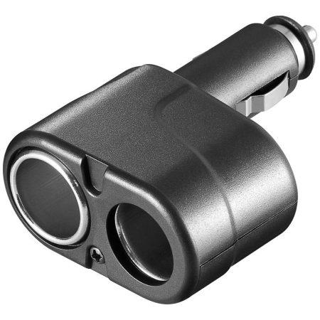2/1 gépkocsi szivargyújtó adapter / szivargyújtó aljzat kétfelé osztása, fekete