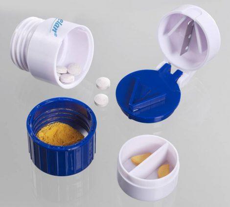Gyógyszeres doboz gyógyszervágóval.