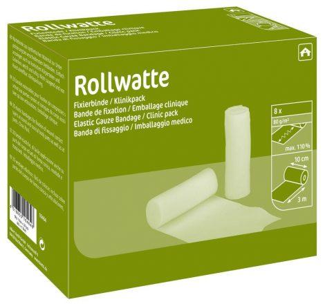ROLLWATTE fixáló kötszer, 10 cm x 3 m – 8 db.