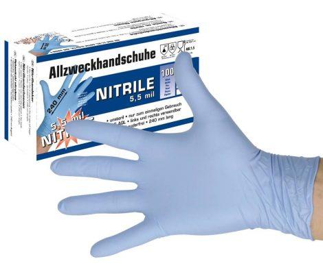 Többcélú nitril gumikesztyű, 5,5 mil, mérete L, 100 db Nem szállítható Export tilalom miatt!!!!
