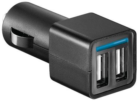 WETEKOM - Gépkocsi USB töltő adapter 12 V és 2 x USB – Max. 4,2 Amper
