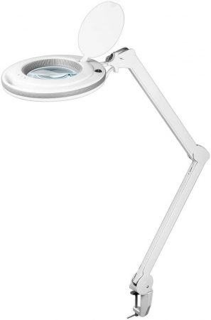LED világítású nagyító 125 mm-es, 90 db SMD LED és asztalrögzítővel.
