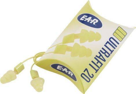 3M hallásvédő füldugó, EN 352-2 EAR ULTRAFITT 20, SNR= 20 dB, zsinórral és 93 dB-ig véd