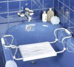 Wenko Secura csak fehér  fürdőkád szék, ezüst, kihúzható, max. 150 kg